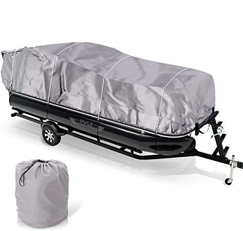 """Universal Boat Adjustable Storage Cover - 17'-20'L to 96"""" Pontoon Boats Protection Custom Heavy Duty Waterproof Weather Resistant Polyester Fabric, Snap Strap, Elastic Cord, Bag - Pyle PCVHP440"""