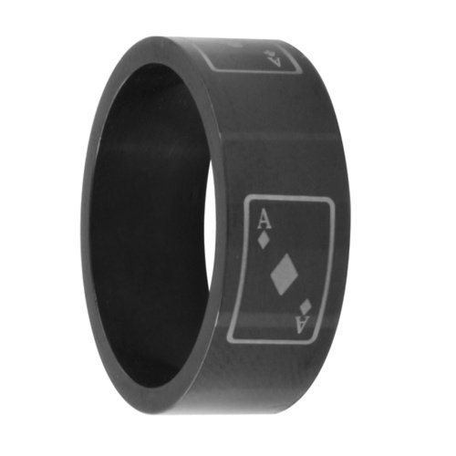 Double Accent 8MM Stainless Steel Black Anodized Card Ace Wedding Band (Size 8 to 13), 9