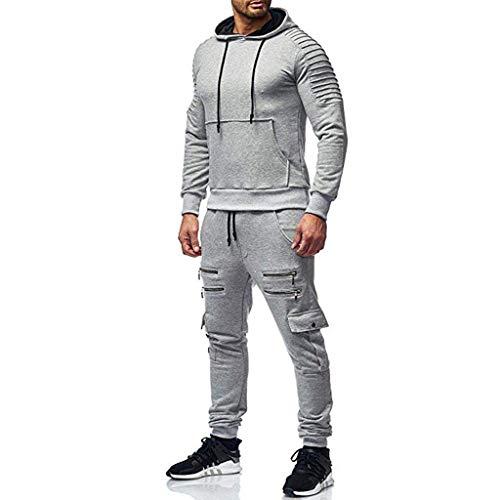 YIHANK Herren Herbst Freiezitjacke Sweatshirt Mit Kapuze Top Hosen Sets Sportanzug Trainingsanzug Einfarbige Camouflage Trainingskleidung