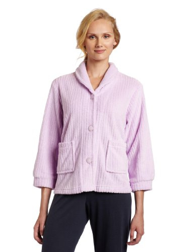 Casual Moments Womens Bed Jacket With Shawl Collar, Lilac, Medium