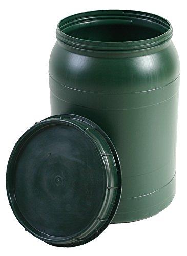 BAUPROFI Weithals-Fass grün 60 Liter mit Deckel Nässe-Schutz Transport-Faß
