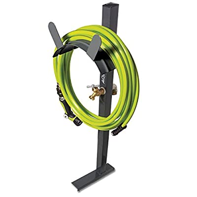 Aqua Joe SJ-SHSBB-Gry Garden Hose Stand with Solid Brass Faucet w/Quick Install Anchor Base, Grey