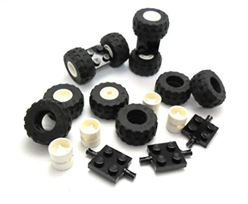 LEGO City Rad - und Achsensortiment - 5 Auto Achsen + 10 dicke Räder mit weissen Felgen 56890 / 6014