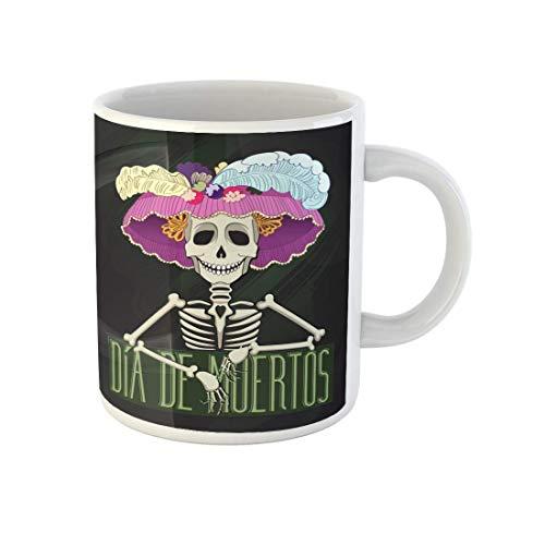 N\A Taza de café Día de Catrina Dia De Muertos The Dead Fiesta Tazas de cerámica de té de 11 onzas Recuerdo para Familiares, Amigos, compañeros de Trabajo