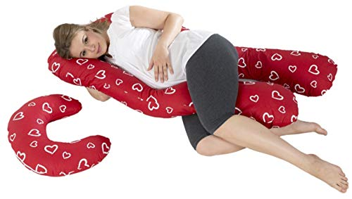 Velinda Lagerungskissen-, Relaxkissen-, Schwangerschaftskissen-Set multifunktional (Muster: weiße Herzen)