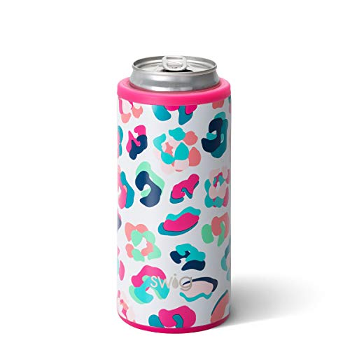 Swig Life 12oz Triple Insulated Skinny Can Cooler, Dishwasher Safe, Double Walled, Stainless Steel Slim Can Coozie for Tall Skinny Cans in Dragon Glass Pattern (Multiple Patterns Available)