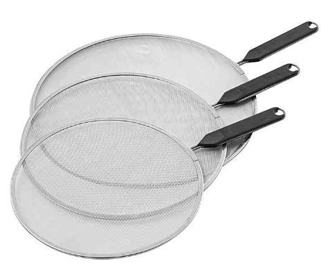"""Splatter Screen Guard for Cooking Grease Shield Cover for Frying Pan Kitchen Heavy Duty Quality 3 pc set 8"""" 10"""" 12"""" With Bonus Silicone Pot Holder"""