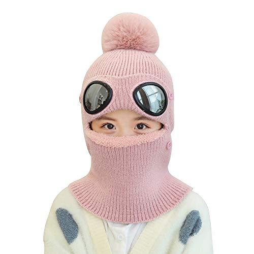 AMHDV Kids Winter Hat,Girls Boys Warm Knit Hat, Earflap Hood Scarf Hat, 5-12 Old (Pink)