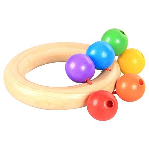Kitchnexus Baby Holz Rassel Hand Glocke Greifling Holzspielzeug Montessori pädagogisches Spielzeug für Kinder (4 Stücke)