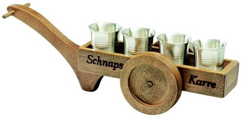 Holz Schnapskarre mit 4 (vier) Zinn Schnapsbecher # 2 cl = 20 ml # aus dem Hause Artina