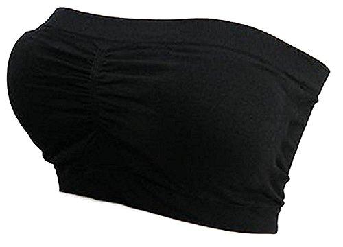 Kaiser-Handel.de Damen Bandeau Bra trägerlos Unterhemd TOP GoGo Sport BH Push Up Uni Größe bnu (schwarz)