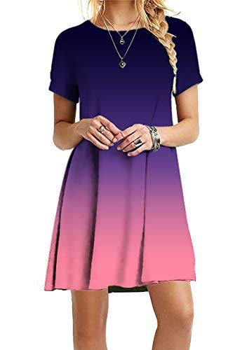 OMZIN Damen Kleid Strandkleid mit Kurzarm A-Linie Partykleid Freizeitkleid Minikleid Ärmellos Shirtkleid Lockeres Kleid Sommerkleider Elegant Violett M
