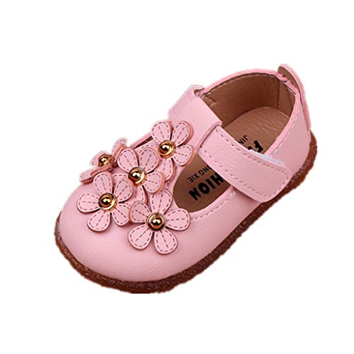 Auxma Chaussures bébé Fille Princesse Fleurs,Chaussures Premiers Pas Chaussures de Mariage de Robe pour 0-2 Ans (20 EU, Rose)