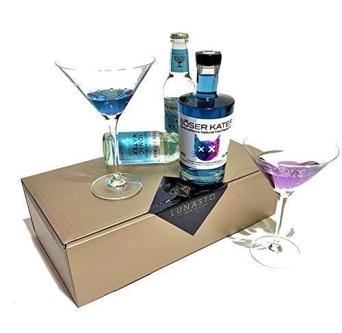 LUNASTO | Böser Kater Two Faced Gin mit Fever Tree Mediterranean Tonic Water als Geschenkidee/Geschenkkorb/Präsentkorb für Männer und Frauen zum Geburtstag-einzigartig weicher und blumiger Geschmack