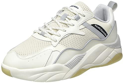 SCOTCH & SODA FOOTWEAR Cassius Sneaker, Zapatillas Hombre, Blanco Crudo, 44 EU