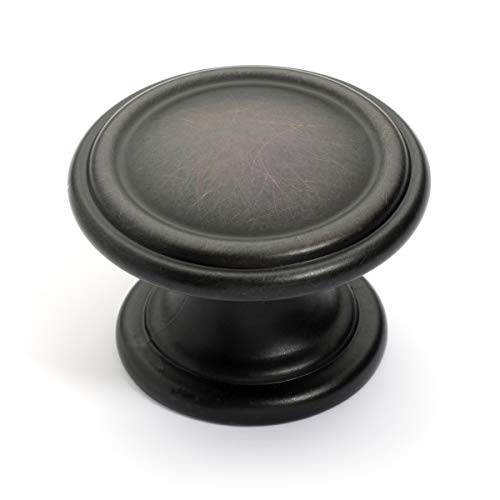 Dynasty Hardware K-8038-S-10B-10PK Two Ring Cabinet Hardware Knob, Oil Rubbed Bronze, 10-Pack