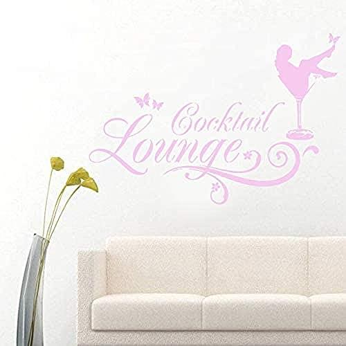 Pegatina de vinilo para pared, pegatina creativa para salón de cócteles con lámpara Emmy en copa de champán, comillas, 57x80cm