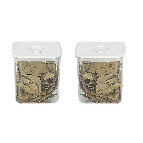 TAMRG Juego de 2 recipientes herméticos de plástico con tapa, recipientes de almacenamiento para cocina, para cereales y harina (800 ml cuadrados)