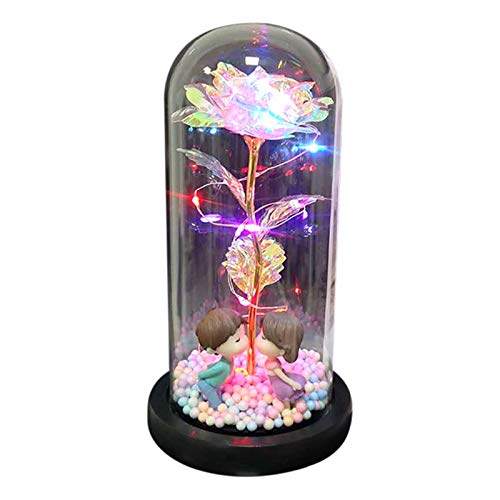 Zoomarlous Rosa eterna en cristal, lámpara de madera con base de madera, decoración para el día de San Valentín, día de la madre, aniversario, cumpleaños, Navidad, aniversario, boda, regalo