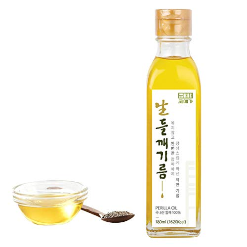 Korean Cold Pressed Premium Extra Virgin Pure Perilla Seed Cooking Oil 6.1 oz Rich Source of Omega 3, 6, 9