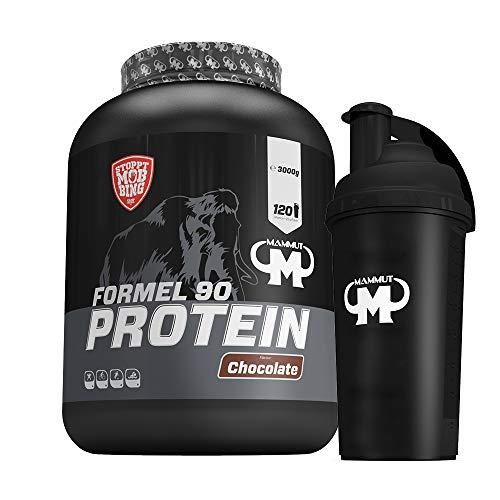 3kg Mammut Formel 90 Protein Eiweißshake - Set inkl. Protein Shaker, Powderbank oder Grifpolster (Chocolate, Gratis Mammut Shaker)
