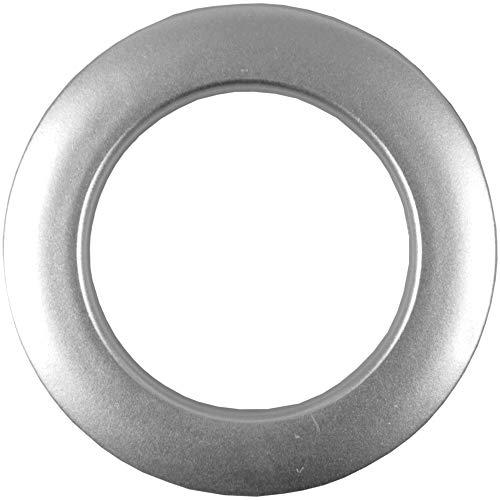 Bestlivings 40 Silberne Gardinenösen (inkl. Schablone) für 40 mm Stoffloch, verwendbar für alle Stoffstärken Schlagösen Kunststoffösen Ösenset Rundösen Vorhangringe