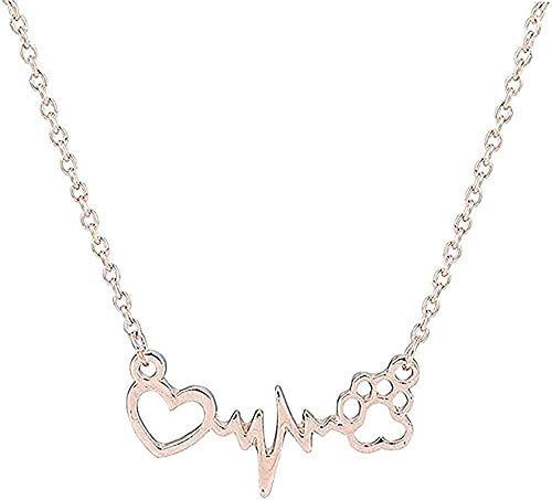 Collar Collar Para Mujer Hombre Collar Lindas Mascotas Perros Huellas Pata Corazón Amor Cadena Colgante Collar Collares Y Colgantes Joyas Para Mujeres Collar Llamativo Collar Colgante Cadena Para Muje