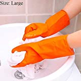 Lukzer Heavy Duty Reusable Industrial Use Rubber Gloves/Ideal for Construction Material Handling Janitorial Activities Home Kitchen Bathroom Cleaning (Size: Medium, Orange) -1 Pair