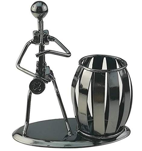 BIGBIGWORLD Pennenhouder met muzikantenmotief, ijzer, pennenhouder, stifthouder, secretaire, bureau, muziekdecoratie, speelgoed cadeau Saxofoon