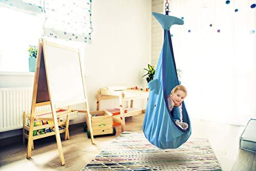 snuutje Hängehöhle für Kinder Willo der Wal (Schadstoff geprüft und GS-Zertifiziert, aus 100% Baumwolle, hält bis 80 kg, mit Zubehör) blau - 2
