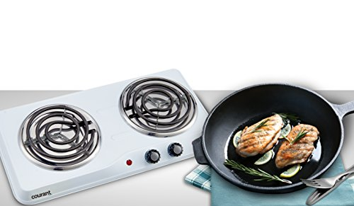 Courant Double Burner, 1700W Hot-Plate, White Countertop Burner, Portable Electric Cooktop, White, CEB2183W