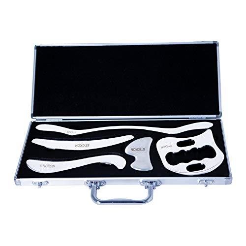 Gua Sha Set(5-Teilig) Schaber Graston IASTM Scraping Massage Tool Medizinischer Edelstahl Werkzeug für Faszien Weichteil Massagegerät Therapie