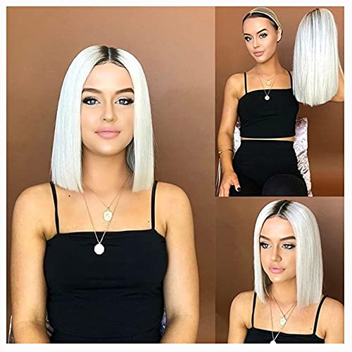 16'Bob Short Straight Centre Split Split Gradient White Synthetic Wig for Women, Red Rose Rose Soft Rose Red, la Calidad es Muy Buena