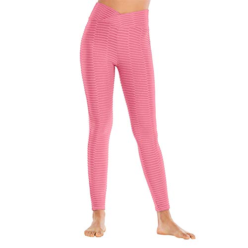 Leggings de deporte para mujer, pantalones de fitness de cintura alta, para yoga, color liso, red de burbujas rosa L