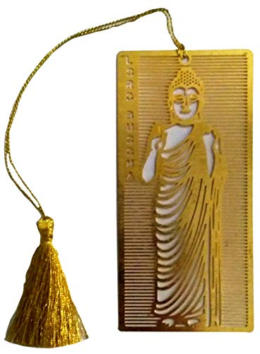 Purpledip Brass Bookmark: Intricately Carved Buddha Page Marker for Book Lovers (12057)