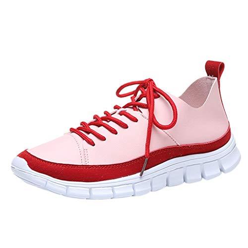 Floweworld Damenmode Schnürschuhe Flache Schuhe Farbblock Lässige Outdoor-Sportschuhe Weicher Boden Laufschuhe Atmungsaktive Sportschuhe