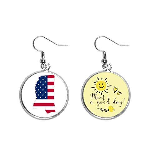Mississippi USA Map Stars Stripes Bandera Forma Oído Gota Sol Flor Pendiente Joyería Moda