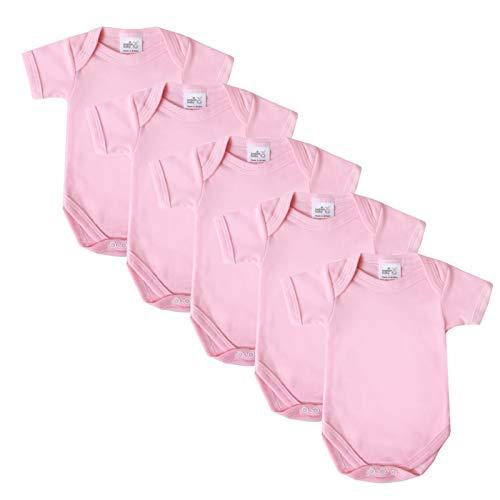 Baby Bodysuit Vests, Katoen Korte Mouwen, Brits Gemaakt voor Jongens of Meisjes, 5 Pack