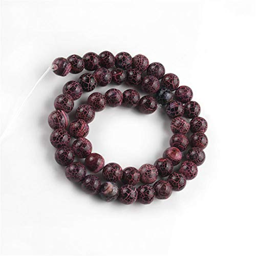 Caviland 6 8 10Mm Natural Stone Multicolor Cracked Dream Fire Dragon Veins Agates Onyx Beads For Jewelry DIY Making Bracelets 15'' Red 8mm (approx 46pcs)