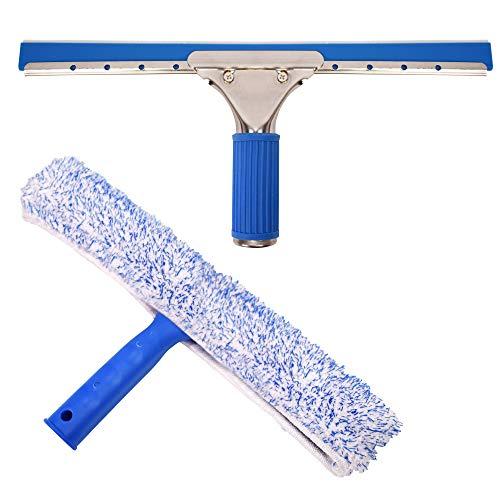 TRIXES Kit de Limpieza de Cristales - Escobilla de Goma y Limpiador de Microfibra Ventana - Kit de Limpieza de Coches - 2-en-1 Combi no racha de Cristal depurador y Goma de limpiaparabrisas