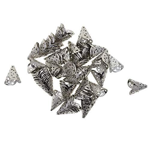 Baosity 50 piezas Vintage filigrana cono cordón borla final Caps tapones de cuentas tapón de joyería hacer hendiduras conector para DIY collar pulsera pendientes