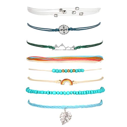 choice of all VSCO String Wave Bracelet Adjustable Friendship Bracelet Handcrafted Jewelry Women (F:Rainbow Set)