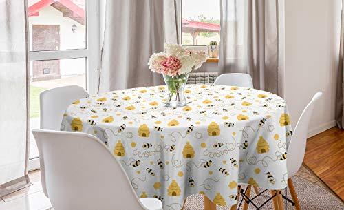 ABAKUHAUS Bij Rond Tafelkleed, Vliegende Bugs Hearts Bijenkorven, Decoratie voor Eetkamer Keuken, 150 cm, mosterd White