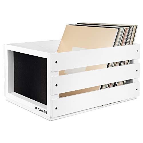 Navaris Holz Schallplatten Kiste mit Kreidetafel - 43,2 x 30,6 x 23cm - für bis zu 80 LP Platten - Vinyl Aufbewahrung Holzkiste - Weiß