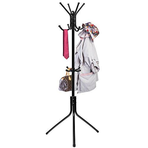Free-Standing Coat Rack Entry-Way - Metal Base Tree Stand Holder with Hooks for Hanging Jacket Hat Umbrella - Black