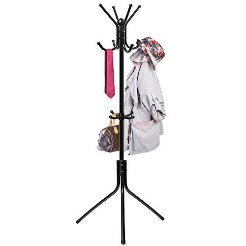 Free-Standing Coat Rack Entry-Way - Metal Base Tree Stand Holder with Hooks for...