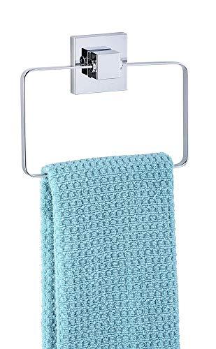 WENKO Vacuum-Loc® anneau porte-serviettes en acier inox Quadro - Porte-serviettes, Acier inoxydable, 18.5 x 14 x 3.5 cm, Brillant