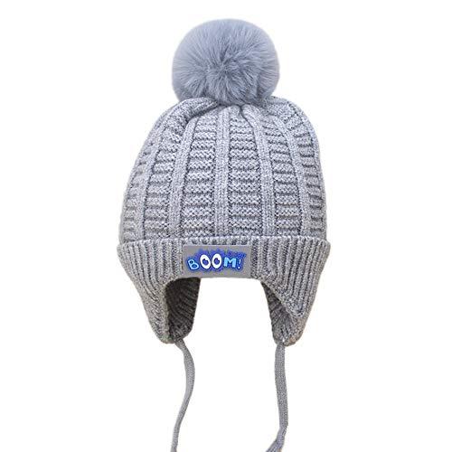 Bonnet Bébé, Mamum Garçons Fille Bébé Hiver Chaud Cap Chapeau Bonnet Chat Crochet Earflap Chapeaux Déguisement (gris)
