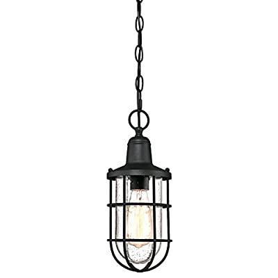 Westinghouse Lighting 6334800 Crestview One-Light Outdoor Pendant, Textured Black Finish with Clear Seeded Glass, Oil Rubbed Bronze