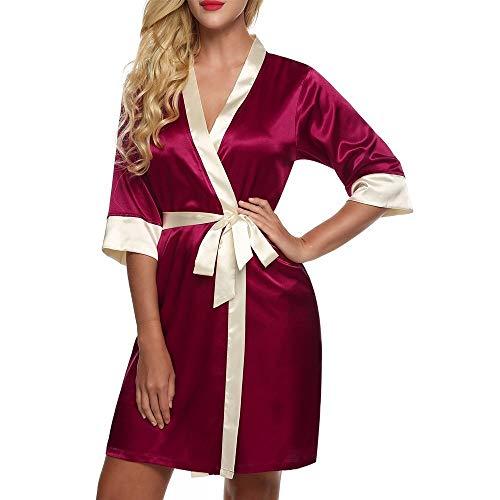 Pasen Ochtend Jas, Dames Nacht Schede Zijde Jurk Nachtkleding Badjas Korte Eenvoudige Stijl Satijn Kimono Negligee Satijn Beige Donker Navy Blauw Xs Thuis Mode Comfortabele pyjama